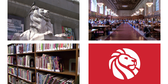 photomontage of New York Public Library's lion statue, the Rose Reading Room, a bookshelf, and logo